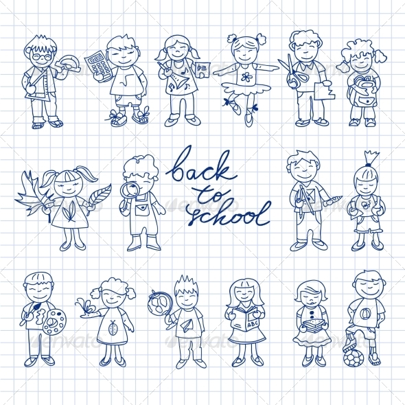 GraphicRiver Set of Carton Doodle Kids 8437418