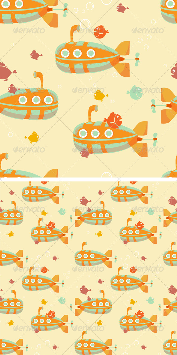 GraphicRiver Underwater Submarine Seamless Pattern 8437888