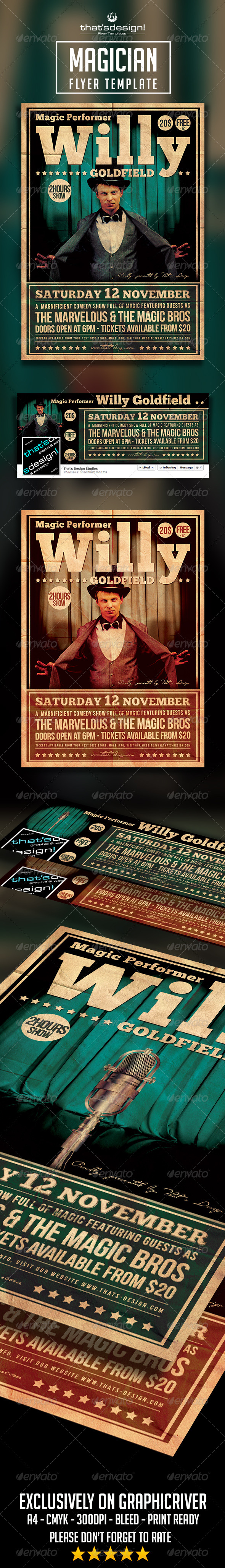 GraphicRiver Magic Performer Flyer Template 8438074