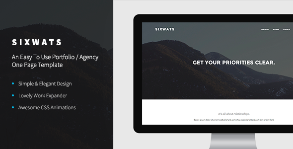 ThemeForest SIXWATS An Easy To Use Portfolio One Page 8438185