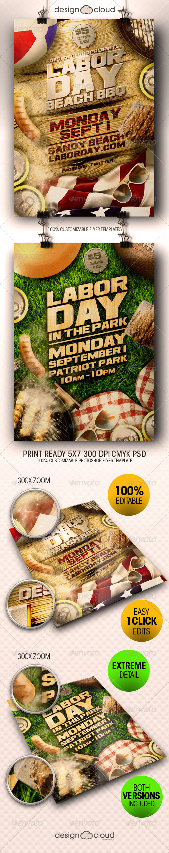 GraphicRiver Labor Day Beach and Park Party Flyer Template Duo 8438272