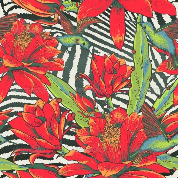 GraphicRiver Tropical Seamless Vintage Floral Pattern 8438460