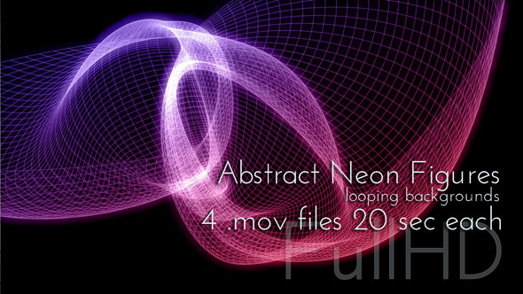 Abstract Neon Grid Figures