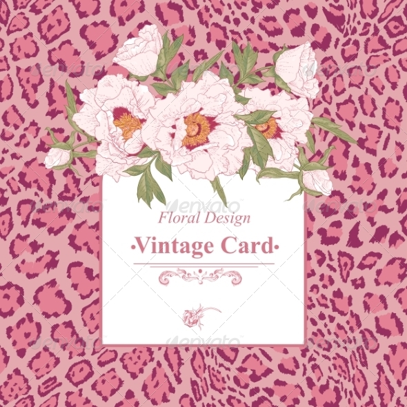 GraphicRiver Vintage Greeting Card with Blooming Flowers 8438487