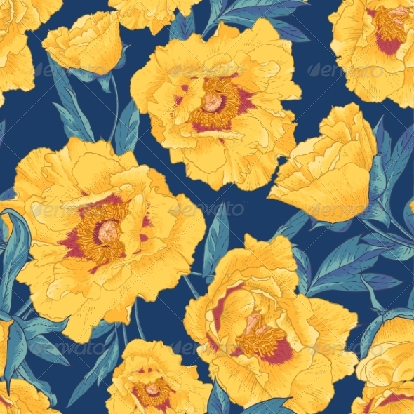GraphicRiver Tropical Seamless Pattern with Yellow Flowers 8438519