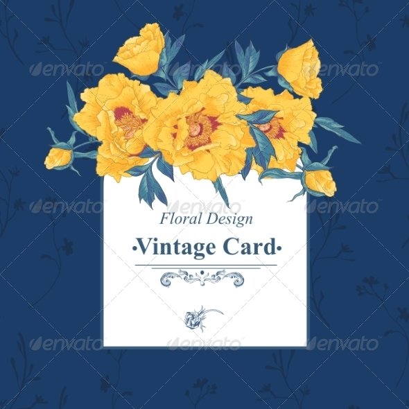 GraphicRiver Vintage Greeting Card with Blooming Flowers 8438566