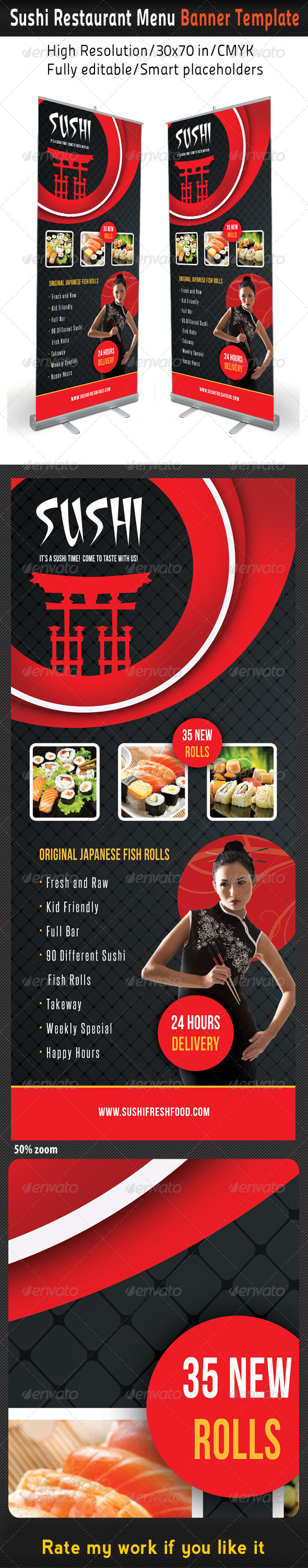 GraphicRiver Sushi Restaurant Menu Banner Template 03 8438857