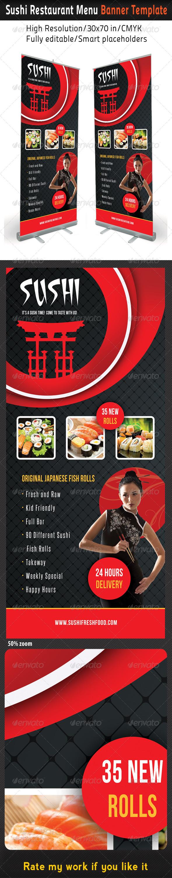 Sushi Restaurant Menu Banner Template 03