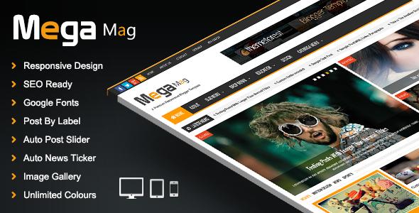ThemeForest Mega Mag Responsive Magazine Blogger Template 8343644