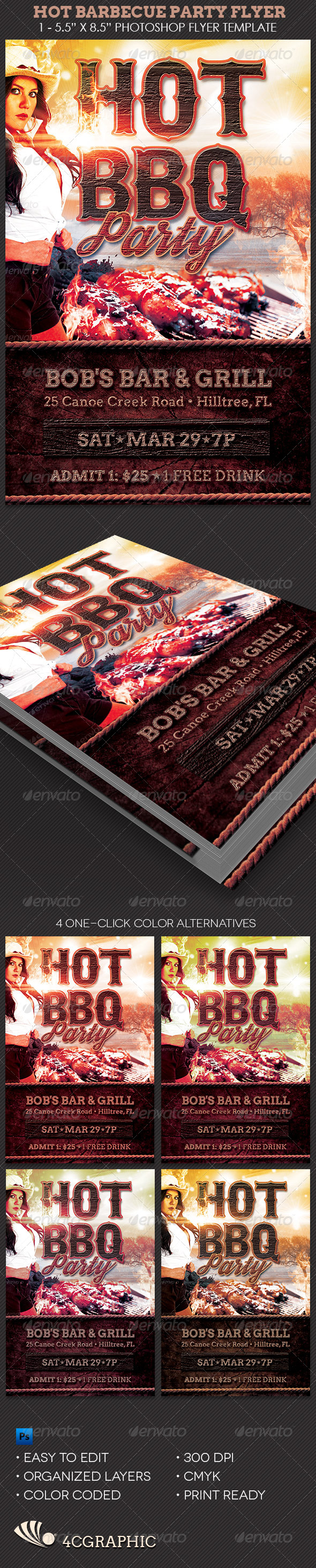 GraphicRiver Hot Barbecue Party Flyer Template 8447122