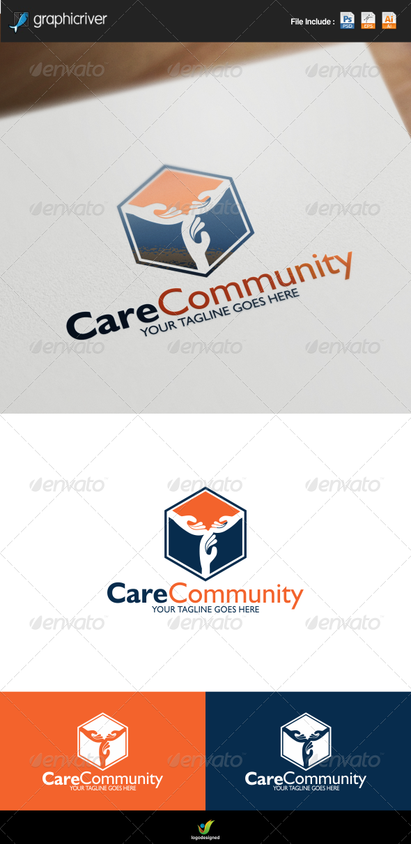 GraphicRiver Care Community Center Logo 8447550