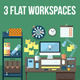 Flat Office Workspace Set. - GraphicRiver Item for Sale