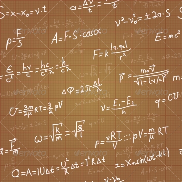 GraphicRiver Physics Formulas Vector Seamless Pattern on Brown 8454210