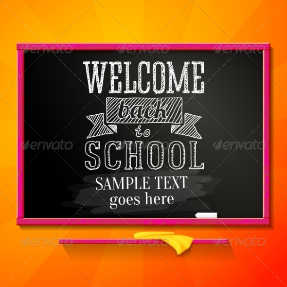 GraphicRiver Bright Chalkboard with Greeting Welcome Back 8454228