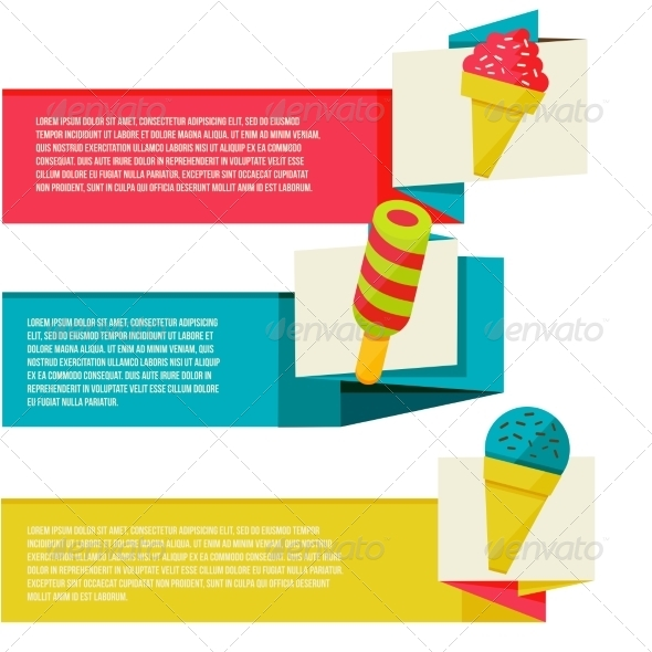 GraphicRiver Decorative Ice Cream Paper Banners Set 8454262