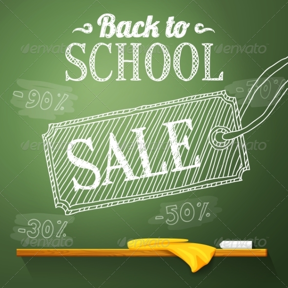 GraphicRiver Back to School Sale on the Chalkboard 8454278