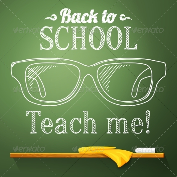 GraphicRiver Chalkboard with Glasses 8454280