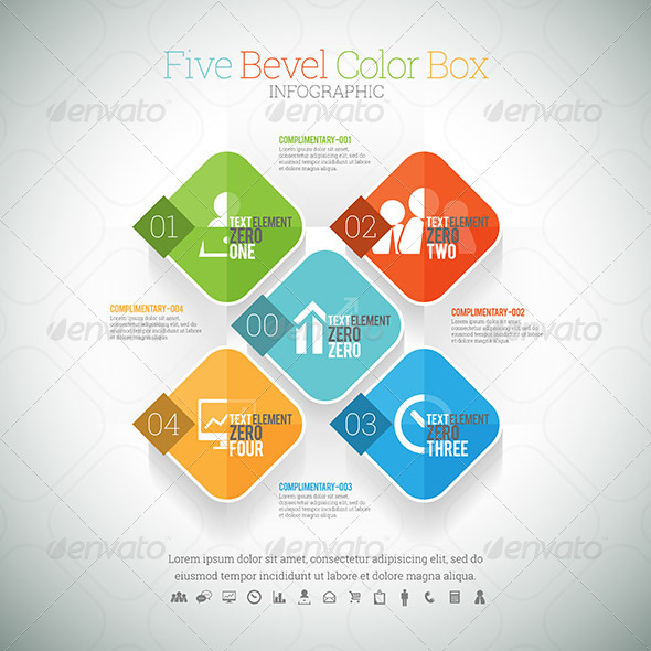 GraphicRiver Five Bevel Color Box Infographic 8454375