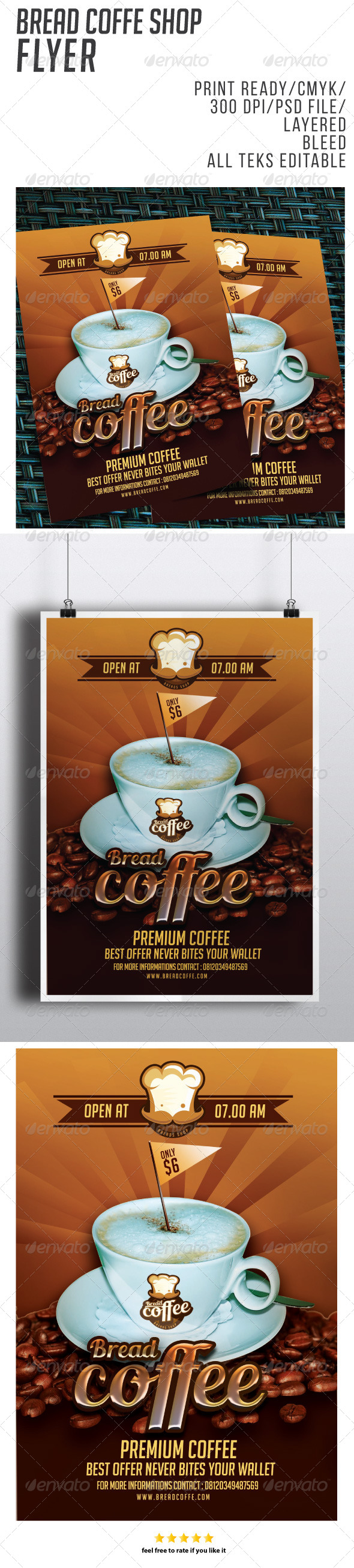 GraphicRiver Bread Coffe Flyer 8454401