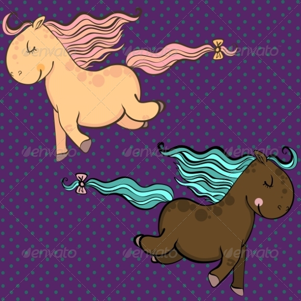 GraphicRiver Cartoon Vector Horses 8454416