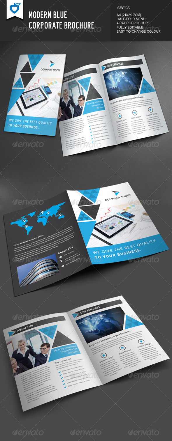 GraphicRiver Modern Blue Corporate Brochure 8454434