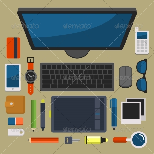 GraphicRiver Office Workplace Top View in Flat Design Vector 8454453