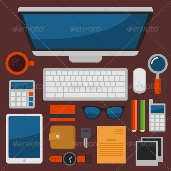 GraphicRiver Office Workplace Top View in Flat Design Vector 8454517