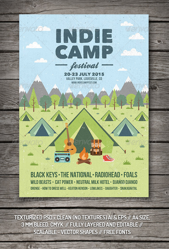 GraphicRiver Indie Camp Festival Flyer Poster 8454543