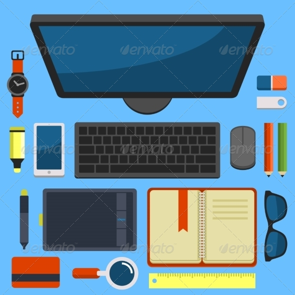 GraphicRiver Office Workplace Top View in Flat Design Vector 8454575