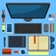 Office Workplace Top View in Flat Design Vector - GraphicRiver Item for Sale