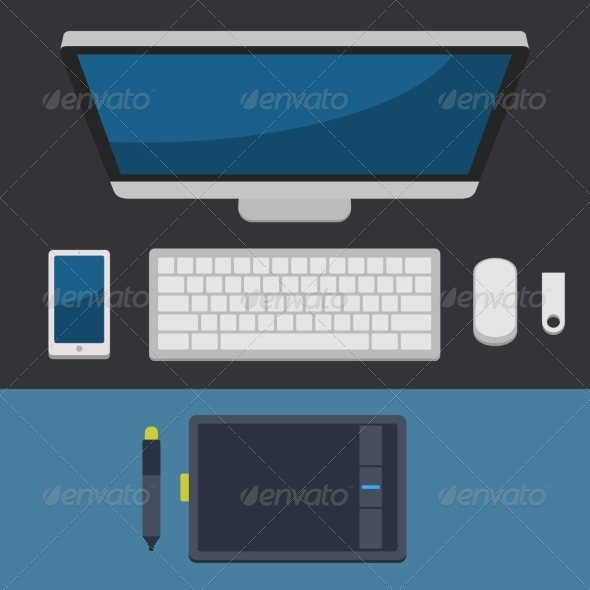 GraphicRiver Office Workplace Top View in Flat Design Vector 8454601