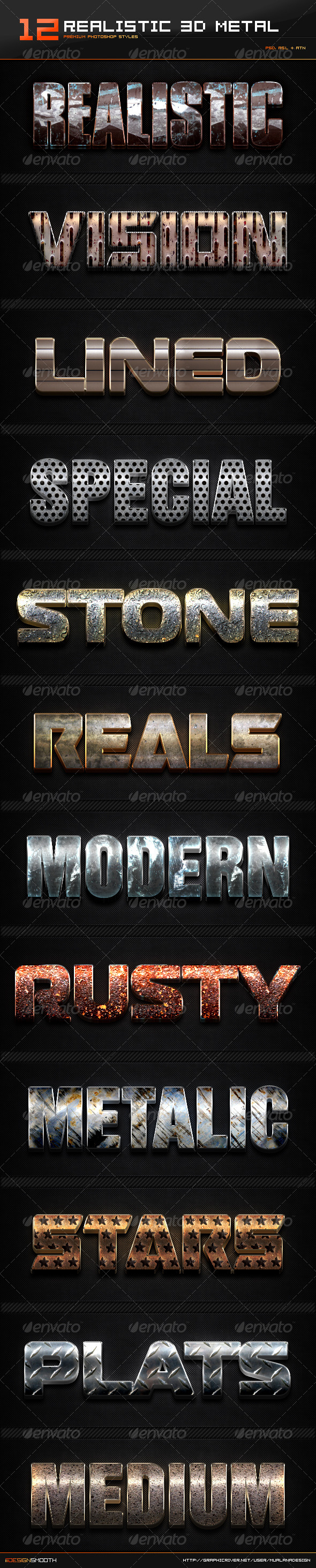 GraphicRiver 12 Realistic 3D Metal Styles & Actions 8454759