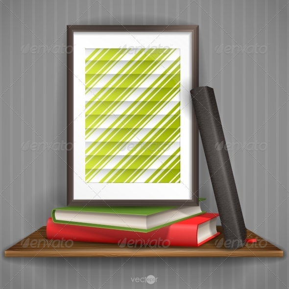 GraphicRiver Wood Shelf With Photo Frame 8459594