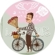Frenchman on a Bicycle with Red Roses - GraphicRiver Item for Sale