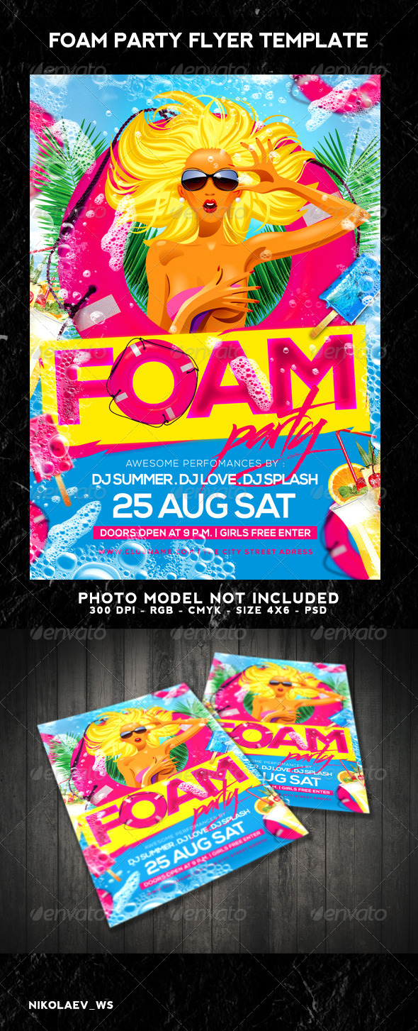 GraphicRiver Foam Party Flyer 8461323