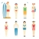 Icons of Kids in Summer Clothing and Swimsuits - GraphicRiver Item for Sale