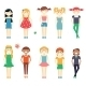 Smiling Girls Character Set - GraphicRiver Item for Sale