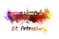 Saint Petersburg skyline in watercolor - PhotoDune Item for Sale