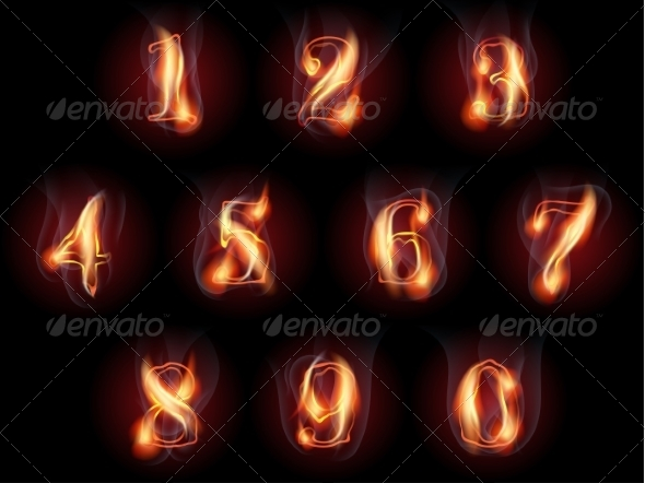 GraphicRiver Burning Numbers Set 8463365