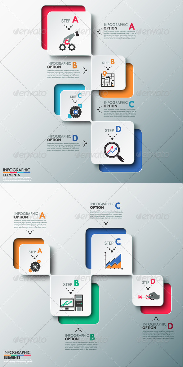 GraphicRiver Modern Infographics Process Template 2 Versions 8463372