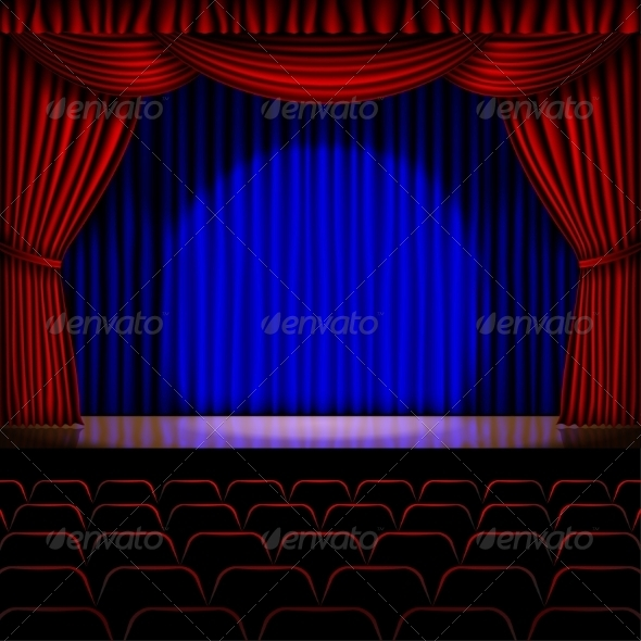 GraphicRiver Stage with Red Curtain 8463955