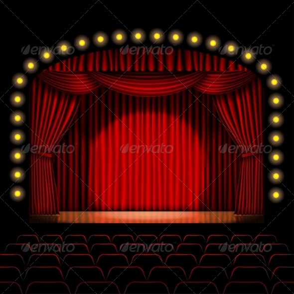 GraphicRiver Stage with Red Curtain 8463994