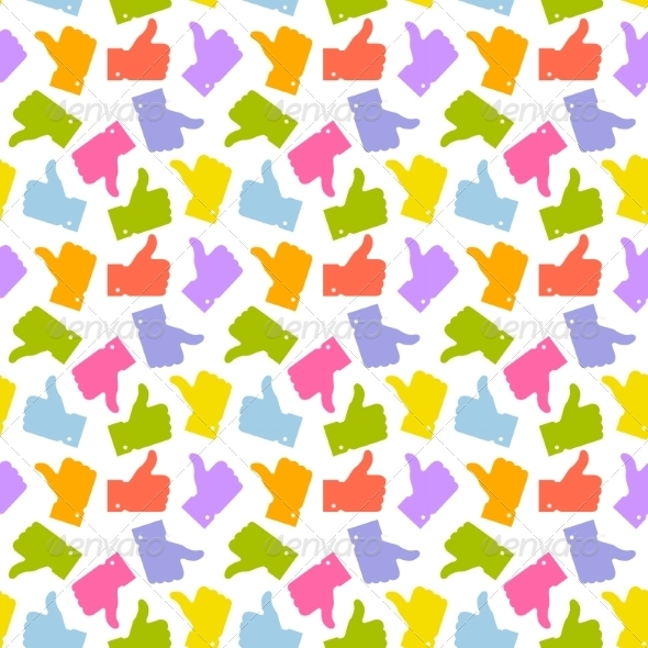 GraphicRiver Seamless Pattern Colorful Thumb Up Icon 8464949