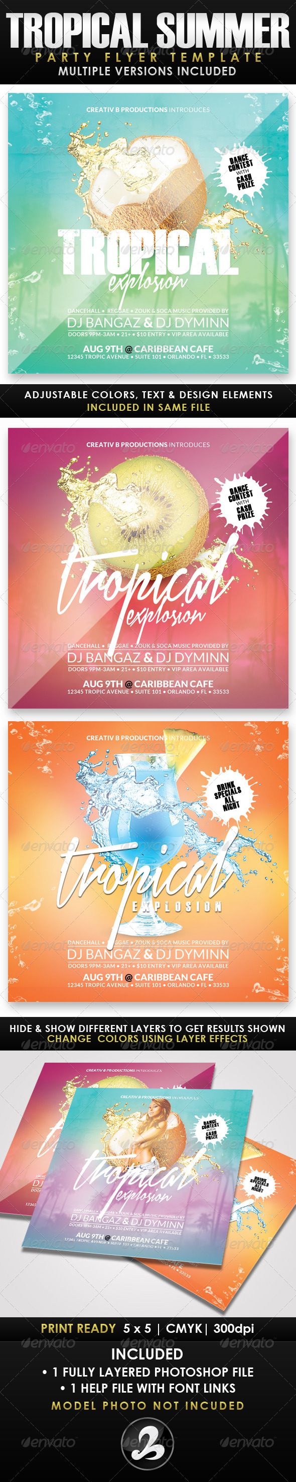 GraphicRiver Tropical Summer Party Flyer Template 2 8436955