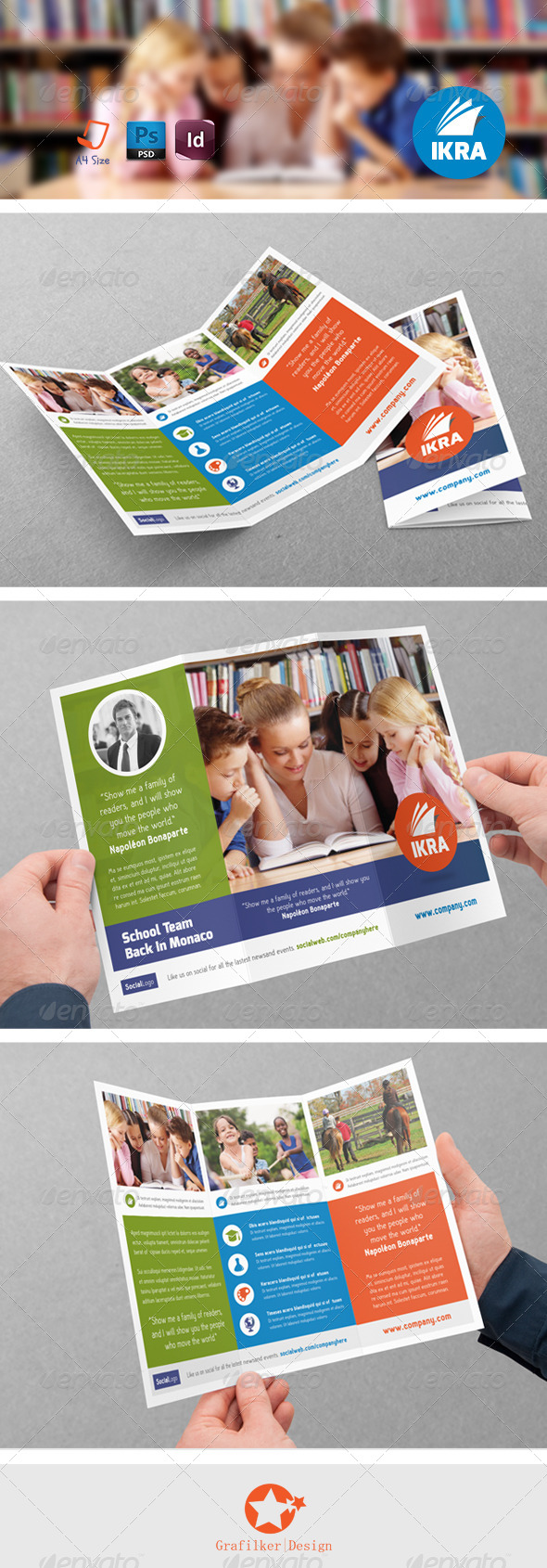 GraphicRiver School Book Tri-Fold Templates 8465235