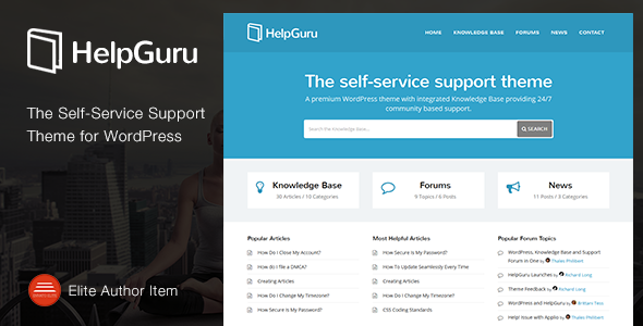 HelpGuru is a premium Self-Service Support Knowledge Base theme for WordPress Create a premium Knowledge Base or solution to allow your customers and clients to