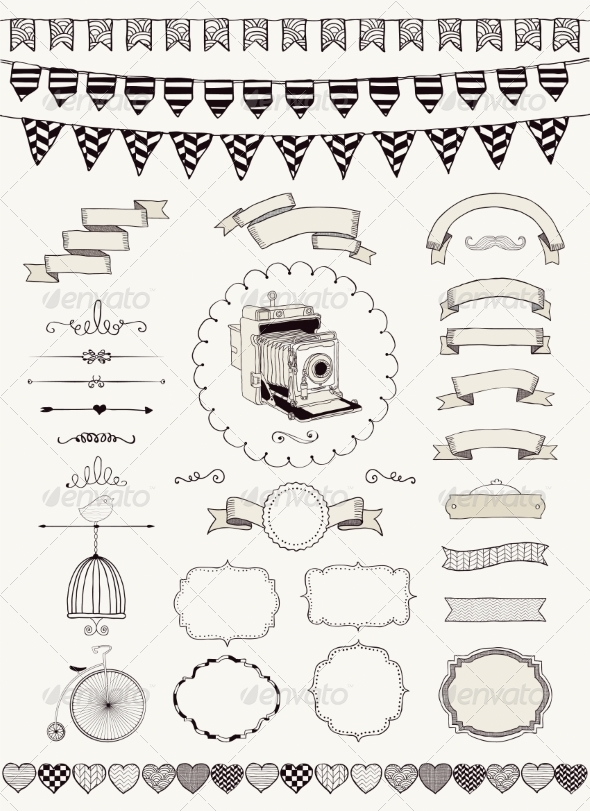 Vector Collection of Banners Ribbons and Frames