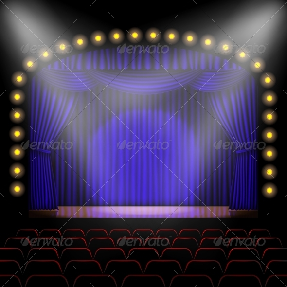 GraphicRiver Stage with Blue Curtain 8465884