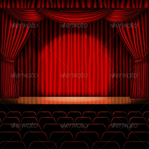 GraphicRiver Stage with Red Curtain 8465888