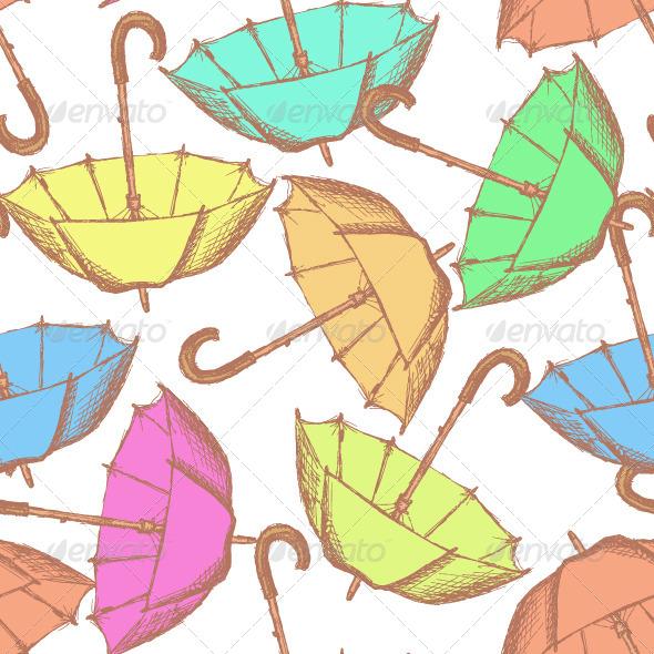 GraphicRiver Vintage Umbrella in Sketch Style 8466272